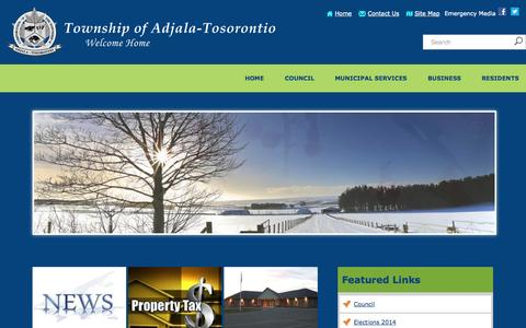 Screenshot of Home Page adjtos.ca - Home              - Adjala Tosorontio - captured Jan. 26, 2015