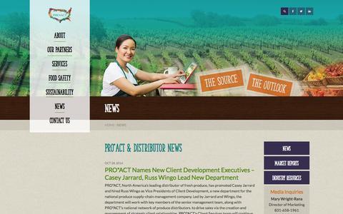 Screenshot of Press Page proactusa.com - Supply Chain Management | Fresh Produce | Fresh Food | News - captured Oct. 28, 2014