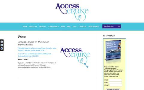 Screenshot of Press Page accesscruiseinc.com - Press - Access Cruise Inc - captured Oct. 4, 2014