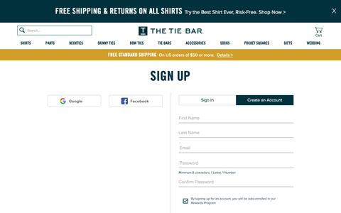 Screenshot of Signup Page thetiebar.com - Sign Up | Shirt, Ties and Men's Accessories | The Tie Bar - captured March 13, 2019