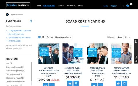 Board Certifications | McAfee Institute
