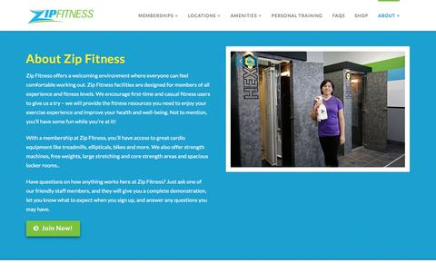 Screenshot of About Page zipfitness.com - About Zip Fitness | Gym Memberships | Chicago Area Fitness - captured Feb. 26, 2016
