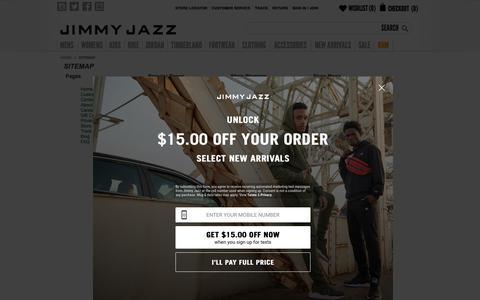 Screenshot of Site Map Page jimmyjazz.com - Sitemap | Jimmy Jazz - captured Feb. 19, 2019