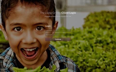 Screenshot of Login Page thelivinggreens.com - Client Login - captured Jan. 30, 2016