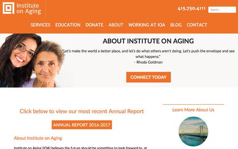 Screenshot of About Page ioaging.org - About Institute on Aging | In-Home Senior Care & Caregiving Resources in SF - captured Oct. 15, 2017