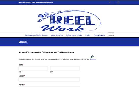 Screenshot of Contact Page lauderdalefishing.com - Contact Reel Work Fort Lauderdale, Florida Fishing Charters - captured Oct. 21, 2017