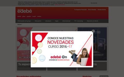 Screenshot of Home Page edebe.com - Grupo Edebé: Libros, Educación, Literatura Infantil y Juvenil, Audiovisuales para niños y jóvenes - captured April 24, 2016