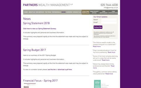 Screenshot of Press Page partnerswealthmanagement.co.uk - News   Partners Wealth Management - captured July 16, 2018