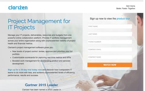 Screenshot of Landing Page clarizen.com - Project Management for IT Projects - captured May 20, 2016