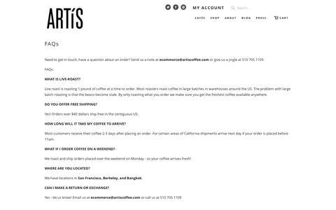 Screenshot of FAQ Page artiscoffee.com - FAQs   Artís Coffee - captured Feb. 6, 2016