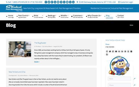 Screenshot of Blog standardpest.com - Pest Control Blog | Standard Pest Management - captured Dec. 3, 2016