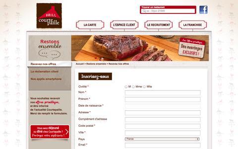 Screenshot of Login Page courtepaille.com - Restaurants Grill Courtepaille, les restaurants de toutes les grillades - captured Sept. 26, 2014