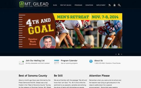 Screenshot of Home Page mtgilead.org - Mt. Gilead - captured Oct. 6, 2014