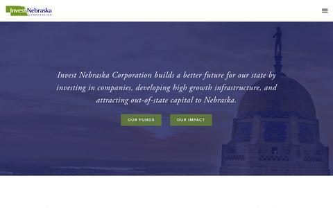 Screenshot of Home Page investnebraska.com - Invest Nebraska Corporation - captured Jan. 12, 2018