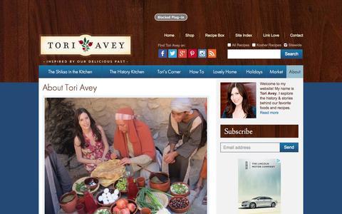 Screenshot of About Page toriavey.com - About Tori Avey | Tori Avey - captured Oct. 31, 2014