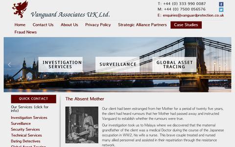 Screenshot of Case Studies Page vanguardprotection.co.uk - People Tracing Enquiries Croydon - Vanguard Associates UK Ltd. - captured Oct. 20, 2018