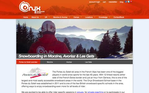 Screenshot of Locations Page onyxsnowboarding.com - Private & group snowboard lessons, winter snowboard camps in the Portes du Soleil, France - captured Oct. 29, 2014