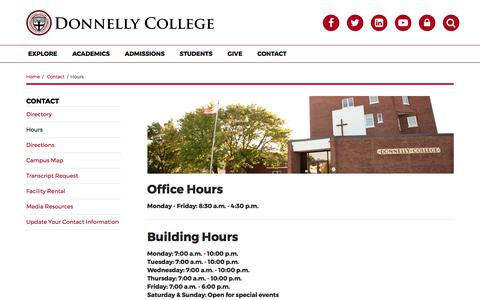 Screenshot of Hours Page donnelly.edu - Hours | Donnelly College | Contact - captured Oct. 12, 2017