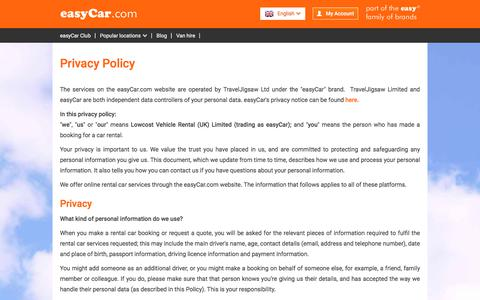 Screenshot of Privacy Page easycar.com - Privacy Policy - Car Hire from easyCar.com - captured July 24, 2018