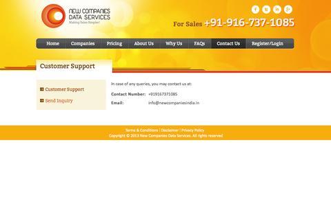 Screenshot of Support Page newcompaniesindia.in - Contact us| +91-9167371085 | info@newcompaniesindia.in | Corporate Database - captured Oct. 26, 2014
