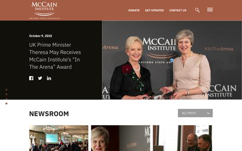 Screenshot of Press Page mccaininstitute.org - Newsroom - McCain InstituteMcCain Institute - captured Oct. 18, 2018