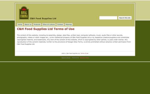 Screenshot of Terms Page cnhfood.com - C&H Food Supplies Ltd Terms of Use - C&H Food Supplies Ltd - captured Oct. 1, 2014