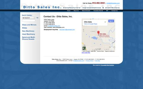 Screenshot of Contact Page dittosales.com - Glass, Furniture Hardware, Drawer Slides, Ball Bearing Slides, Epoxy Coated Euro Slides: Ditto Sales, Inc - captured Oct. 5, 2014
