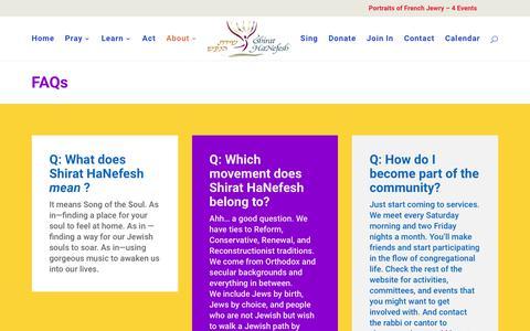 Screenshot of FAQ Page shirathanefesh.org - FAQs | Shirat Hanefesh - captured Oct. 20, 2018