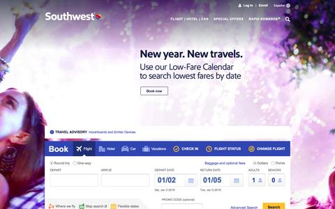 Screenshot of Home Page southwest.com - Southwest Airlines | Book Flights, Airline Tickets, Airfare - captured Jan. 1, 2016