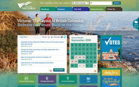 Screenshot of Home Page victoria.ca - Home | Victoria - captured Sept. 25, 2018