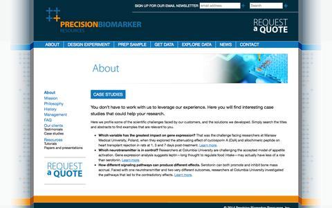 Screenshot of Case Studies Page precisionbiomarker.com - Case studies | Precision Biomarker Resources - captured Oct. 2, 2014