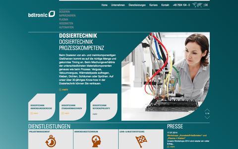 Screenshot of Home Page bdtronic.de - bdtronic GmbH – Prozesskompetenz - captured Oct. 5, 2014