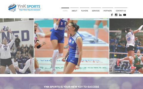 Screenshot of Home Page ynksports.com - YnK Sports Volleyball Agency - captured Sept. 20, 2018