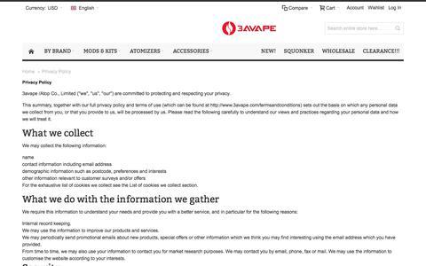 Screenshot of Privacy Page 3avape.com - √ Privacy Policy - captured Nov. 22, 2017