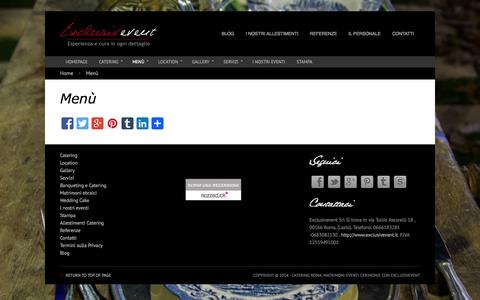 Screenshot of Menu Page exclusivevent.it - Menù | Catering Roma: Matrimoni Eventi Cerimonie con Exclusivevent - captured Sept. 25, 2014