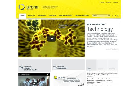 Screenshot of Home Page sironabiochem.com - Sirona Biochem - Carbohydrate Chemistry, SGLT inhibitor, IPTG - captured Sept. 17, 2014