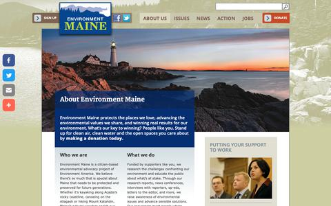 Screenshot of About Page environmentmaine.org - About Environment Maine | Environment Maine - captured Oct. 26, 2018