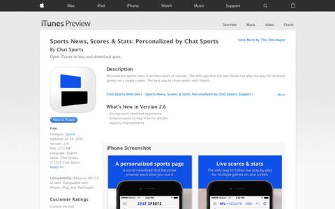 Screenshot of iOS App Page apple.com - Sports News, Scores & Stats: Personalized by Chat Sports on the App Store - captured Nov. 14, 2015