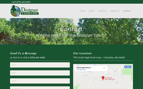 Screenshot of Contact Page designerlandscape.com - Landscape Columbia MO | Contact Designer Landscape - captured Aug. 9, 2018
