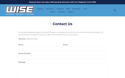 Screenshot of Contact Page wiseseats.com - Contact Us                      – Wise Seats - captured Oct. 18, 2018