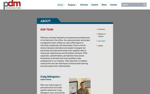 Screenshot of Team Page philadm.com - Our Team - PDM Constructors - captured Jan. 28, 2016
