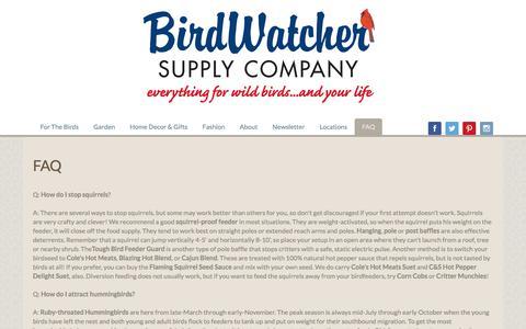 Screenshot of FAQ Page birdwatchersupply.com - FAQ | Bird Watcher Supply Company - captured July 4, 2018