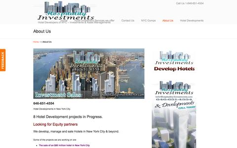 Screenshot of About Page hospitality-investments.com - Hotel Investments - Hotels For Sale in NYC - captured Oct. 3, 2014