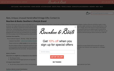 Screenshot of Contact Page bourbonandboots.com - Unique & Unusual Vintage Gifts: Contact Us - captured Sept. 23, 2018