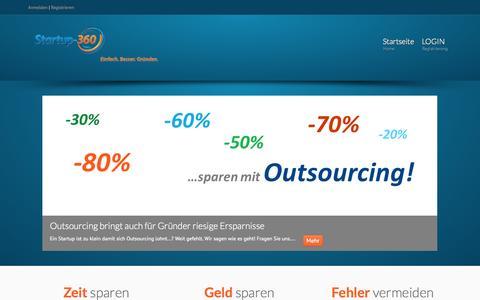 Screenshot of Home Page startup-360.de - Startup-360.de | Expertenwissen für Gründer & Startups zu Discountpreisen | Einfach. Besser. Gründen. - captured Oct. 7, 2014