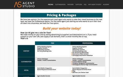 Screenshot of Pricing Page agentstudio.com - Agent Studio | Affordable Travel Agent Website Solutions - captured Jan. 20, 2016