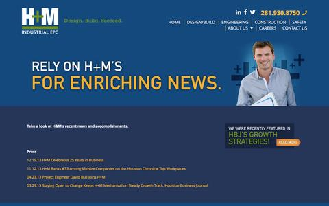 Screenshot of Press Page hm-ec.com - News • H+M Industrial EPC - captured Jan. 24, 2016
