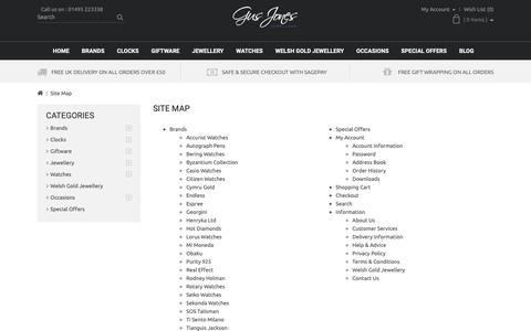 Screenshot of Site Map Page gusjonesjewellers.co.uk - Site Map - captured Nov. 5, 2018