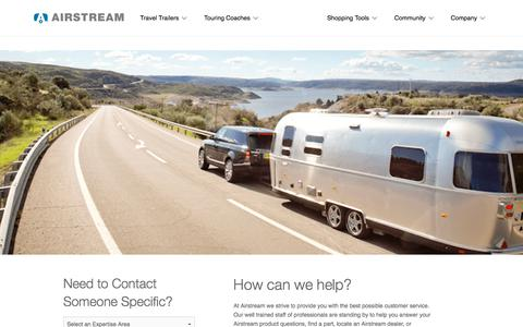Screenshot of Support Page airstream.com - Airstream Customer Support   Airstream - captured Feb. 8, 2018