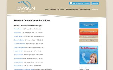 Screenshot of Contact Page Locations Page dawsondental.ca - Toronto Dentist l Newmarket Dentist l Oshawa Dentist - captured Oct. 27, 2014